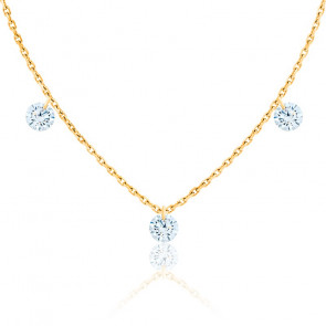 Collier diamants percés brillant F/VS2 Trio & or jaune 18K