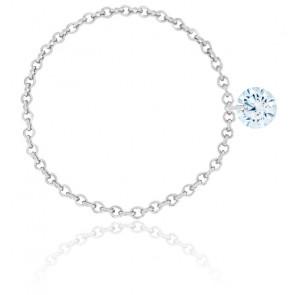 Bague diamant percé brillant F/VS2 Chain & or blanc 18K