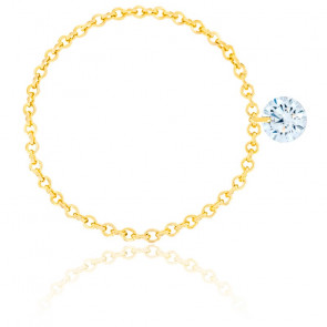 Bague diamant percé brillant F/VS2 Chain & or jaune 18K