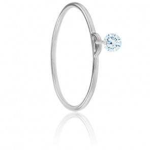 Bague diamant percé brillant F/VS2 Solo & or blanc 18K
