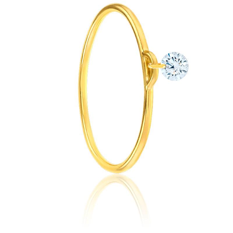 Bague diamant percé brillant F/VS2 Solo & or jaune 18K