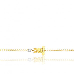 Bracelet lapin diamant & or jaune 18K