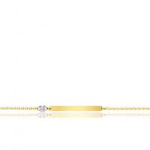 Bracelet plaque rectangulaire diamant & or jaune 18K