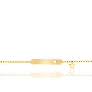 Bracelet plaque étoile ajourée or jaune 18K