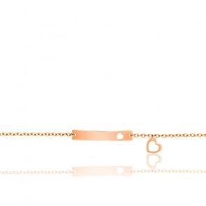 Bracelet plaque coeur ajouré or rose 18K