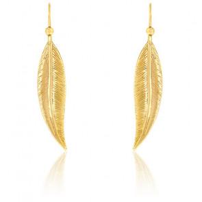 Boucles d'oreilles grande plume or jaune 9K