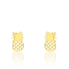 Boucles d'oreilles fantaisie ananas, or jaune 9 carats