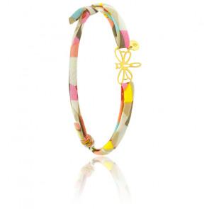 Bracelet tissu libellule or jaune 18K