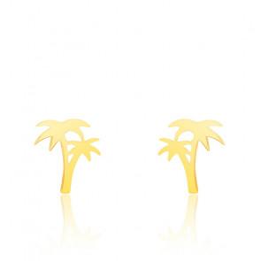 Boucles d'oreilles double palmier or jaune 9K