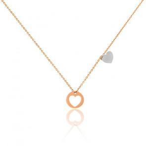 Collier double coeur or rose 18K