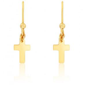 Boucles d'oreilles croix sur crochet or jaune 9K