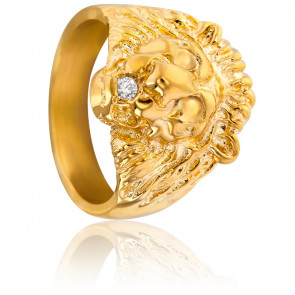 Chevalière Lion Diamant & Or Jaune 9K ou 18K