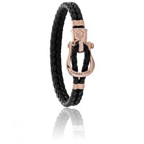 Bracelet Phinity Acier Or Rose et Cuir Noir