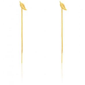 Boucles d'oreilles pendantes plume et chaîne or jaune 9 carats