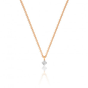 Collier diamant blanc & or rose 18K