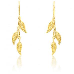 Boucles d'oreilles chaîne pendante trio de plumes or jaune 9K