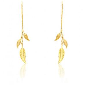 Boucles d'oreilles pendantes chaîne & trio de plumes or jaune 9K