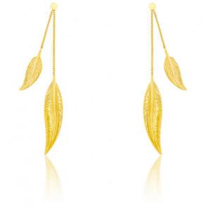 Boucles d'oreilles duo de plumes or jaune 9K