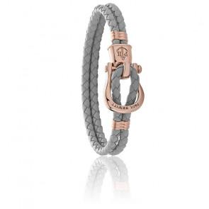 Bracelet Phinity en acier et cuir reconstitué