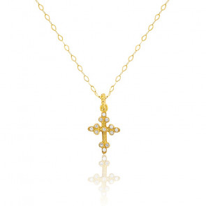 Collier croix diamantée & or jaune 18K