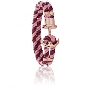 Bracelet Phreps, ancre rose en acier et nylon