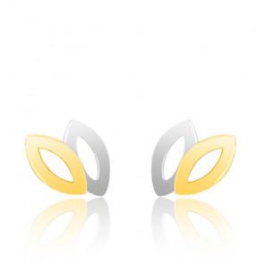 Boucles d'oreilles duo petites feuilles 2 Ors 9K