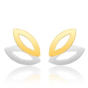 Boucles d'oreilles duo grandes feuilles 2 Ors 9K