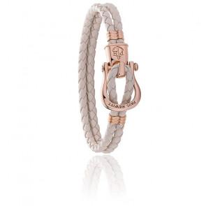 Bracelet Phinity,  acier et cuir beige