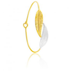 Jonc doubles plumes or jaune & blanc 9K