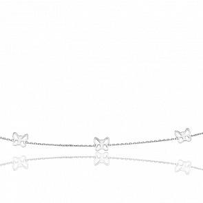 Collier Trois Papillons Ajourés Or Blanc
