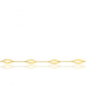 Bracelet feuilles ajourées or jaune 9K