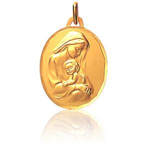 Médaille Ovale Vierge à l'Enfant Or Jaune 18K Diamètre 18 mm