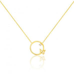 Collier cercle papillon diamant or jaune 9K