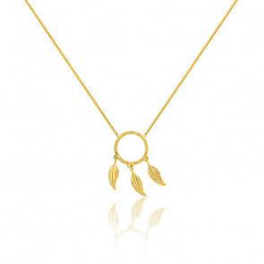 Collier cercle trio de plumes or jaune 9K
