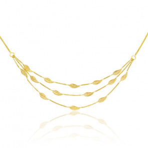 Collier plumes triple chaîne or jaune 9K