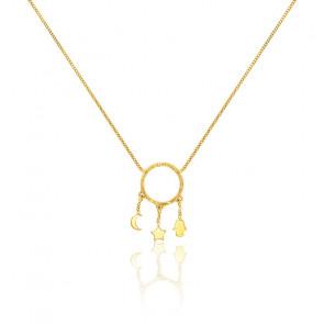 Collier cercle lune étoile main de fatma or jaune 9K