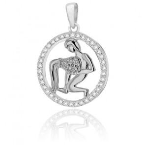 Pendentif rond horoscope verseau en argent plaqué rhodium
