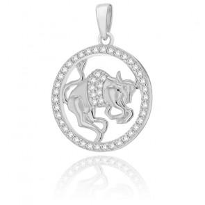 Pendentif rond horoscope taureau en argent plaqué rhodium