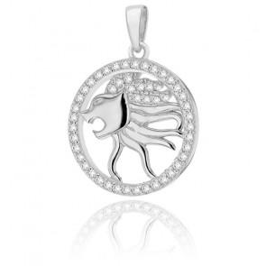 Pendentif rond horoscope lion en argent plaqué rhodium
