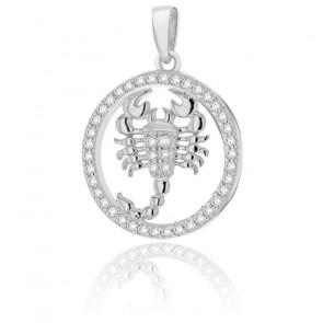 Pendentif rond horoscope scorpion en argent plaqué rhodium