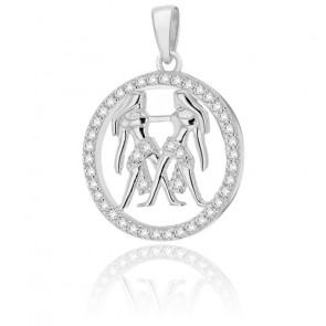 Pendentif rond horoscope gémeaux en argent plaqué rhodium