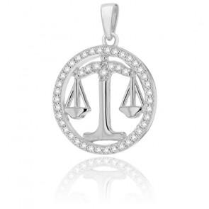 Pendentif rond horoscope balance en argent plaqué rhodium