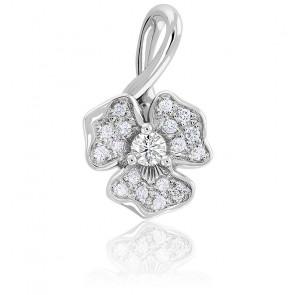 Pendentif Hibiscus Diamants & Or Blanc 18K