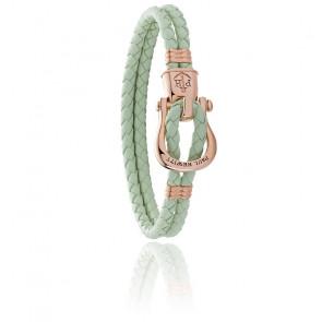 Bracelet acier plaqué or rose et cuir vert