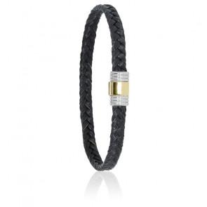 Bracelet 614 Crin de Cheval Noir, Acier & Or Jaune 18K