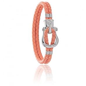 Bracelet acier argenté et cuir abricot