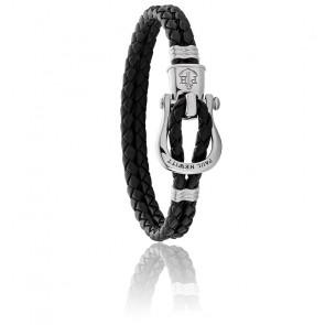 Bracelet acier argenté et cuir noir
