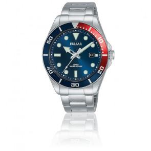 Montre Homme Sport Acier Bleu et Rouge PG8291X1