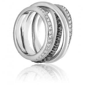 Bague dynamic métal rhodié gris & cristaux