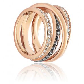 Bague dynamic métal doré rose & cristaux